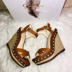 Jessica Simpson Brown Wedge Sandals 8M